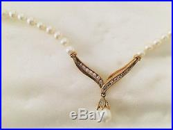 Kay Jewelers Bridal Mikimoto Pearl Diamond Gold Necklace AND Earrings Set