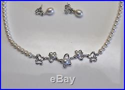 Kiku Pearl Diamond Necklace Earrings 18K White Gold Butterfly Box Set, Damas COA