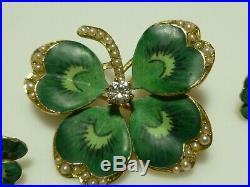 Krementz Nouveau 14k Gold Enamel Diamond Pearl Clover Earrings Brooch Pendant