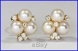 Kurt Wayne Earrings with Pearls & Half Carat of Diamonds set in 18K Yellow Gold