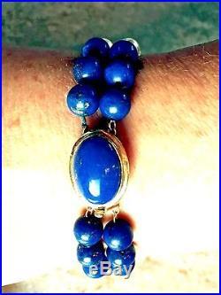 LAPIS LAZULI PEARL 14K Gold Bead Necklace 35 Bracelet 7.5 SET
