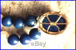 LAPIS LAZULI PEARL 14K Gold Bead Necklace 35 Bracelet 7.5 SET Vintage