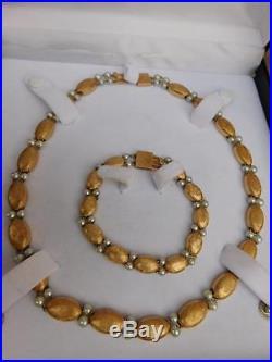 Lucien Piccard 14k Yellow Brushed Gold & Pearl Necklace & Bracelet Set