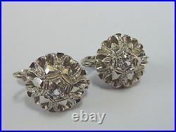 Ladies Stunning 18ct Gold White Sapphire Set Drop Earrings + Appraisal