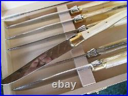 Laguiole L'Abeille Steak Knife Set 6 Pc. Pearl Handle Gold Accent Rivets NOS
