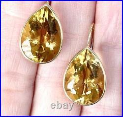 Large 14K Yellow Gold Bezel Set Citrine Pear Drop Earrings