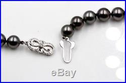 Lot 2 Mikimoto Tahitian Pearl & 18k White Gold Necklace & Earrings Set #419b