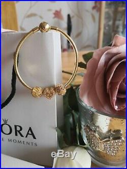 Lovely Pandora Moments 18k Gold S925 Ale Snake Chain Bracelet& Charm Set+box+bag