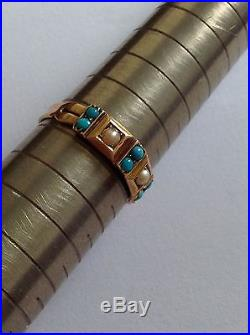 Lovely Victorian 15ct Gold Turquoise & Seed Pearl Set Ring Circa 1880