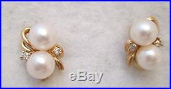 Lovely Vintage Pearl and Diamond Pierced Earrings Set in 14 k Gold