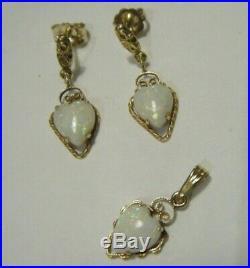Lovely Vtg 7mm Opal Hearts 14K Yellow Gold Set Pendant and Dangle Drop Earrings