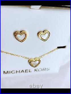 MICHAEL KORS Gift SET Gold Tone Necklace Mother of Pearl Heart Earrings + MK BOX