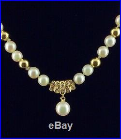 MIKIMOTO Pearl Diamond 18K Yellow Gold 18 Necklace 7 Bracelet Luxury Set