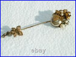 MIRIAM HASKELL Vintage Jewelry old Brooch Stick Pin Bracelet Earring Pearl Gold