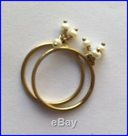 Me & Ro 10K Yellow Gold Thin Ring Set of 4 (2 Turquoise & 2 Pearl)