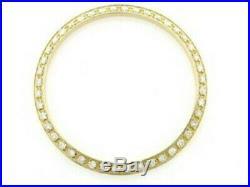 Mens 1ct Bead Set Pave Set Diamond Bezel 14k Yellow Gold For Rolex 34mm Date