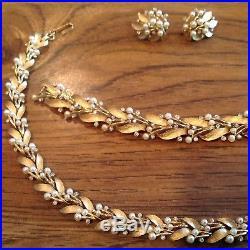 MidCentury Crown Trifari Signed Parure Gold Pearls Rhinestones Neck, Bracelet Ea