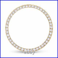 Midsize 1ct Bead Pave Set Diamond Bezel 14ky For Rolex Datejust, President 31mm