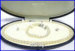 Mikimoto 18K White Gold 6-7MM Akoya Pearl Necklace, Bracelet & Studs Box Set