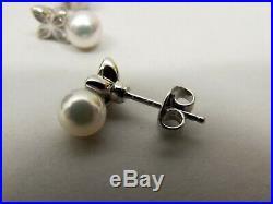 Mikimoto 18K White Gold Akoya Cultured Pearl Diamond Earring Necklace Set Flower