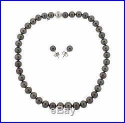 Mikimoto 18k Gold 9mm 11mm Black South Sea Pearl Diamond Necklace Earrings Set