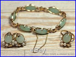 Ming's Hawaii Jade Pearl 14k Gold Bangle Bracelet Ring Earring Set Mings Jade
