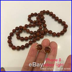 Ming's Hawaii Red Brown Jade Bead 14k Yellow Gold 26.5 Necklace Earrings Set