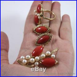 Ming's Hawaii Red Coral & Pearl 14k Yellow Gold Brooch, Ring & Earrings Set