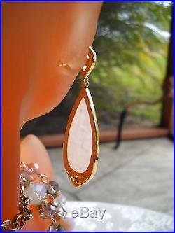 Natural Rose Quartz Swarovski Crystals Set White Gold F Francisca Majorca Pearls