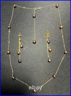 NEW 18K Saudi Gold Set Station Necklace with Fresh Water Pearls FREE SHIPPING