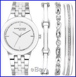 NEW! Anne Klein New York Women's SILVER Tone Watch and Bracelet Set 12/2243SVST
