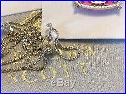 NWT Kendra Scott Set Delaney Pendant Necklace & Elle Drop Earrings Gold Magenta