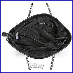 NWT Michael Kors Jet Set Travel Chain Black Silver Tote Shoulder Bag 30T6SJ8T2L