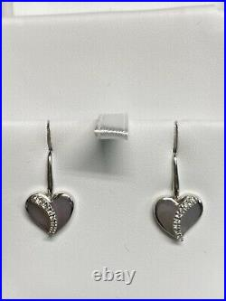 Na Hoku 14K White Gold Mother Of Pearl Diamond Heart Earrings And Pendant Set