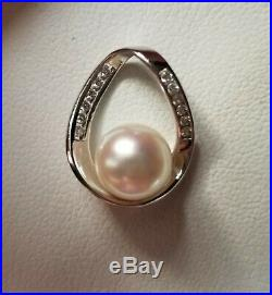 Na Hoku 14k white gold white 8mm pearl pendant with channel set diamonds