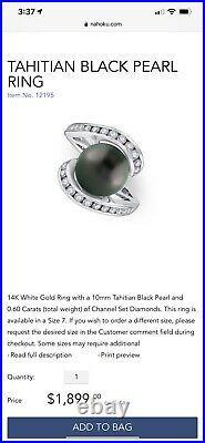 Na hoku Ring And Braclet Set. White Karat Gold With Tahitian Pearl And Diamonds