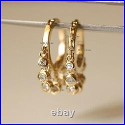 Natural Diamond Bezel Set 14K Yellow Gold Hoops Drop Earrings Mother's Jewelry