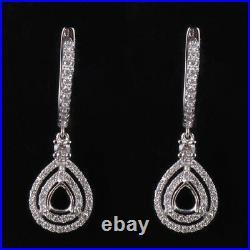 Natural Diamond Semi Mount Drop Earrings Setting Pear Cut 6×4mm 14K White Gold