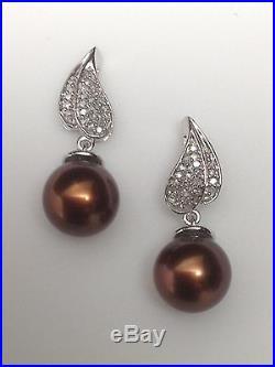 14k Yellow Gold Lightning; Chocolate Cultured Pearl Dangle Stud Earrings TPJ