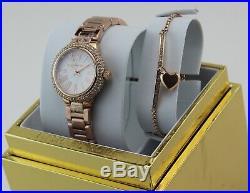 New Authentic Michael Kors Taryn Rose Gold Mop Women's Mk3858 Bracelet Set Watch