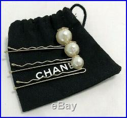 New, Chanel Pearl Hair Pins, Set Of 3, Rare