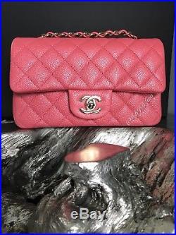 78b8c28401a1 Nwt Chanel 2018 18s Pearly Pink Caviar Rectangle Mini Classic Flap New Full  Set
