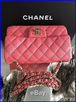 Nwt Chanel 2018 18s Pearly Pink Caviar Rectangle Mini Classic Flap New Full Set