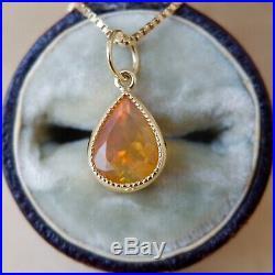 Opal Pendant Drop 14k Yellow Gold Bezel Setting Milgrain Pear Vintage