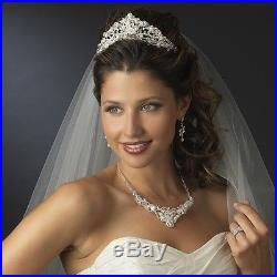 Ornate Silver or Gold Swarovski Freshwater Pearl Bridal Tiara Necklace Set