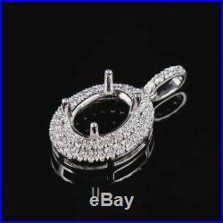 Oval Cut 8×6mm Natural Diamond Semi Mount Pendant Setting Solid 14K White Gold