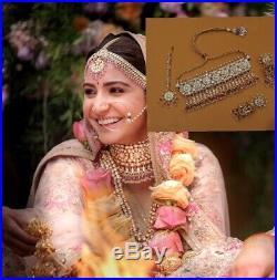 Pakistani bridal jewellery set Indian Asian Wedding Pearl Golden Dulhan Anushka