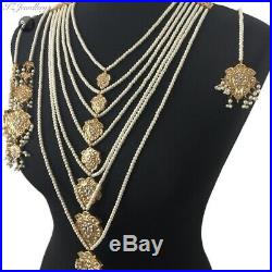 Pakistani bridal jewellery set Indian Asian Wedding Pearl Golden Dulhan Necklace