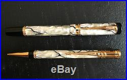 Parker Duofold Fountain Pen And Pencil Set Pearl and Black 18k Gold NIB