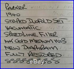 Parker Striped Duofold 1940 Vacumatic Red Black Pearl Set Speedline Restored